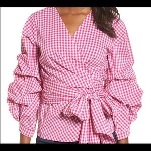 AMAZING Halogen Wrap Pink Gingham Shirt-XS 🎀